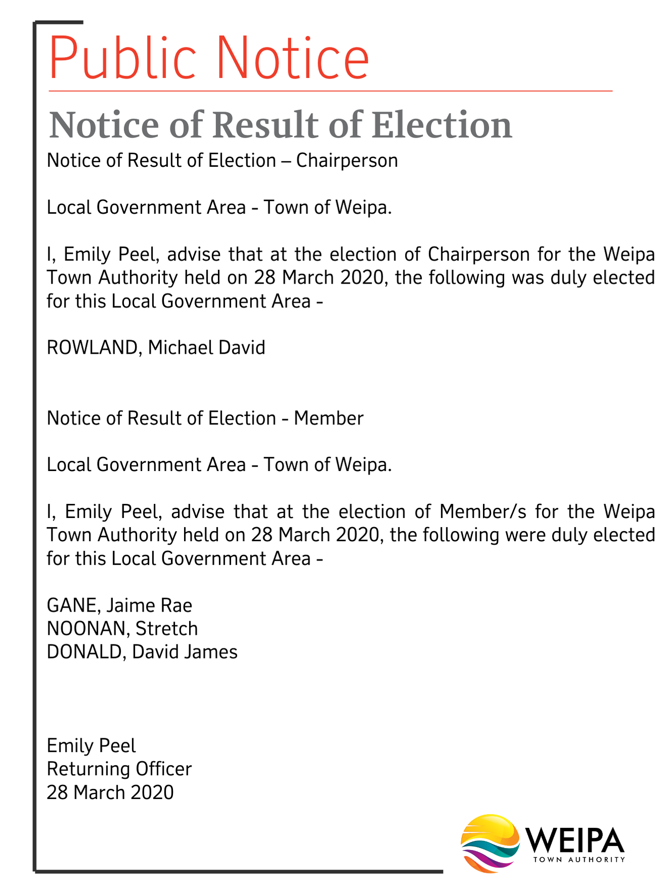 Notice of result of election